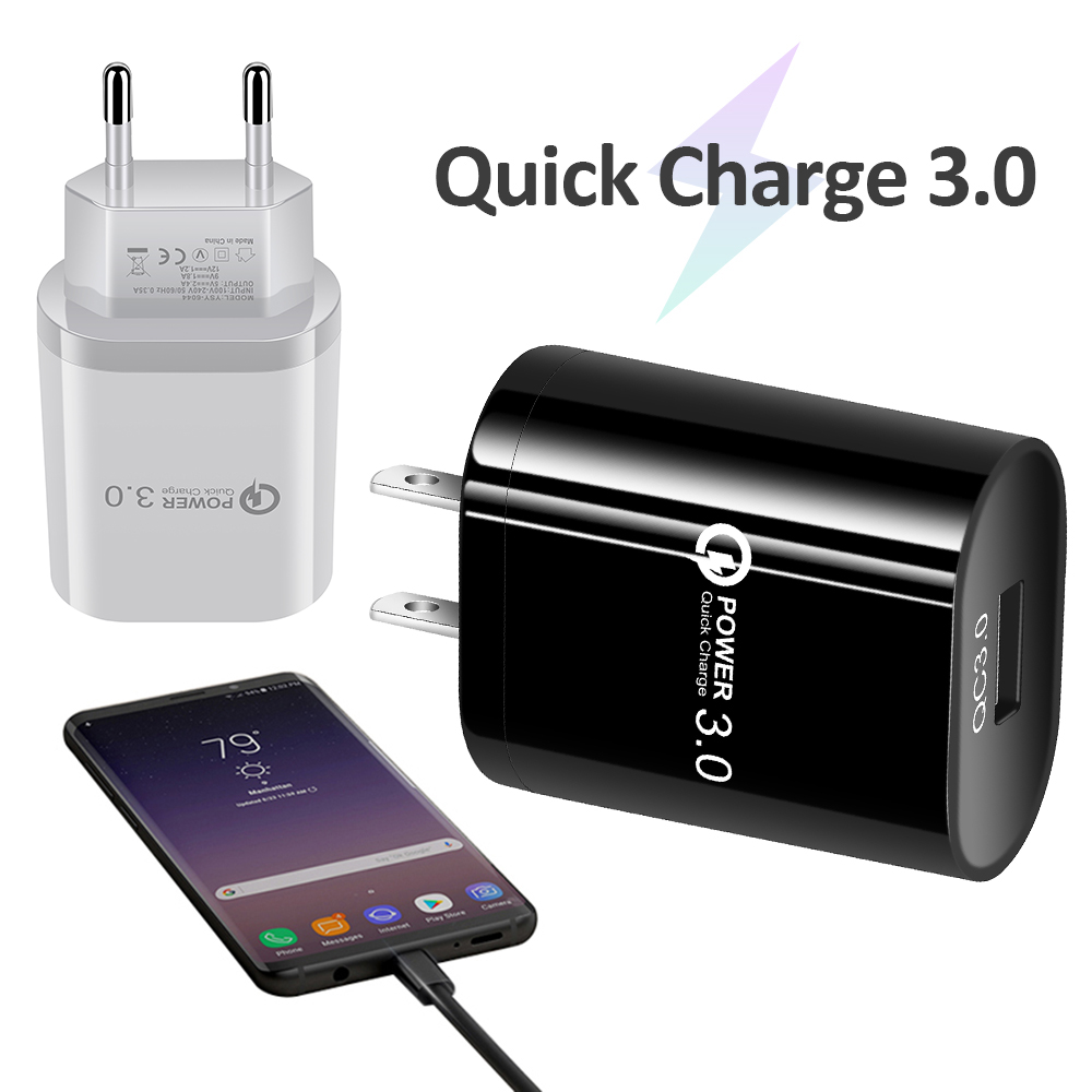 QC 3.0 USB charger Single Port Fast Charge Mobile Phone Charger USB Travel Charger Smart Tablet Charging Head for iPhone X XS XR