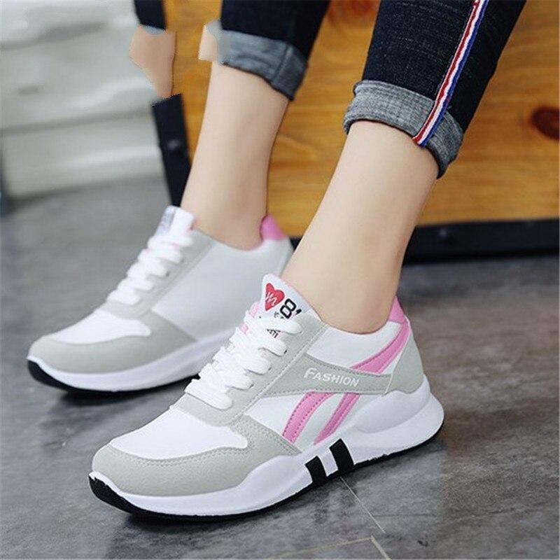 2019 Women Running Shoes White Sport Sneakers Wedge Wild Platform Heels Female Leisure Sneakers Lady Plus Size 35-40 YC-337