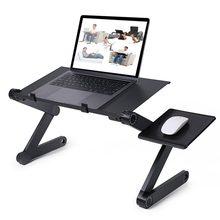 Escritorio plegable para ordenador portátil, soporte ergonómico de aluminio para cama, PC, mesa, Notebook, con almohadilla para ratón