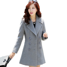 Coat Female Woolen Winter 2020 Autumn Winter Women Medium Long Woolen Double-breasted Long Sleeve Large Size Woolen Coat YFY603 cheap Acetate Polyester Coat of Nepal Turn-down Collar Double Breasted REGULAR Full Slim Pockets Button Office Lady Solid Wool Blends