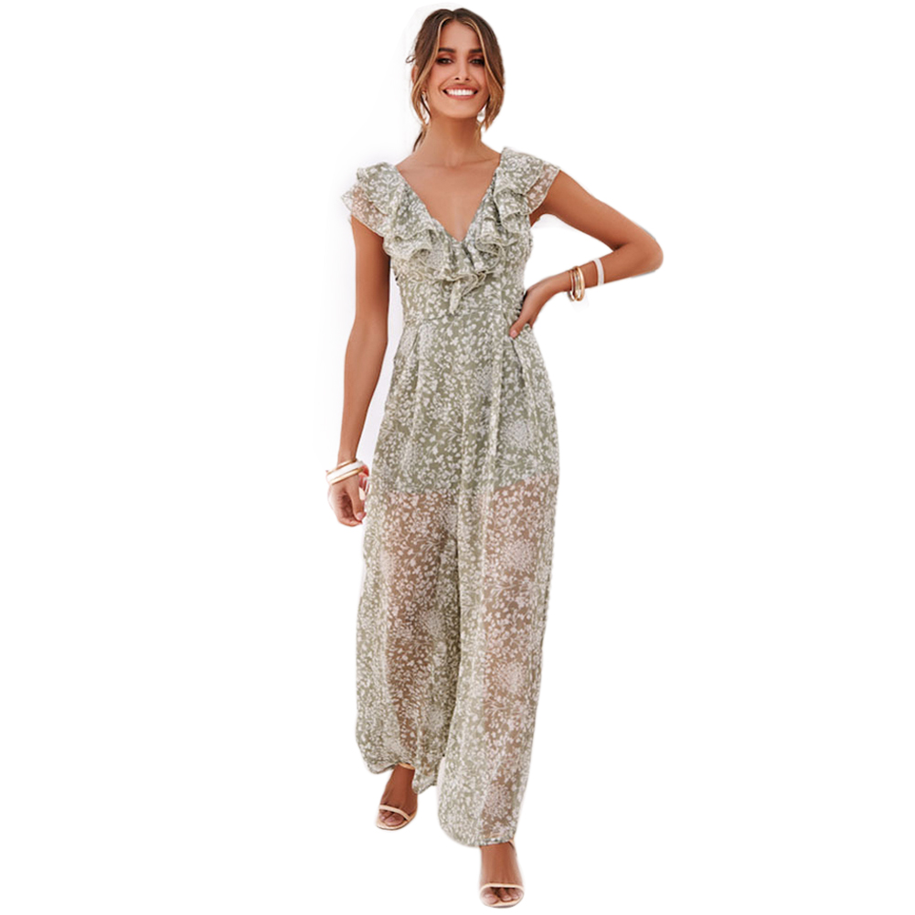 Women   Jumpsuit   Gift Ruffled High Waist Halter Sleeveless Elegant Deep V Neck Sexy Wide Leg Summer Casual Fashion Floral