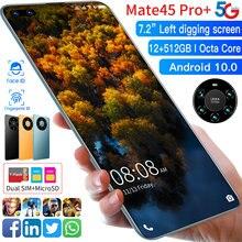 Wersja globalna Mate45 Pro + 7.2 Cal Smartphone pełny ekran Octa Core 5000mAh 8GB 256GB 4G LTE sieci 5G telefon komórkowy