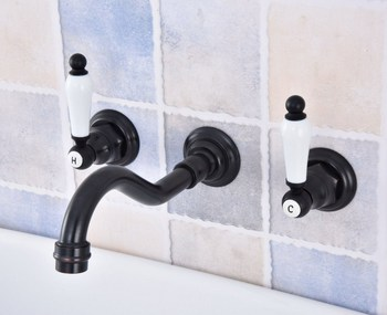 Oil Rubbed Bronze Bathroom Basin Sink Mix Tap Dual Handles Wall Mounted Kitchen Basin Sink Mixer Faucet Nsf495