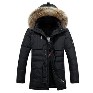 Image 5 -  40 graden Koud Slip Rusland Winter Jas Heren Top Kwaliteit Echt Bontkraag Dikke Warme Witte Eendendons Mannens Winter Jas