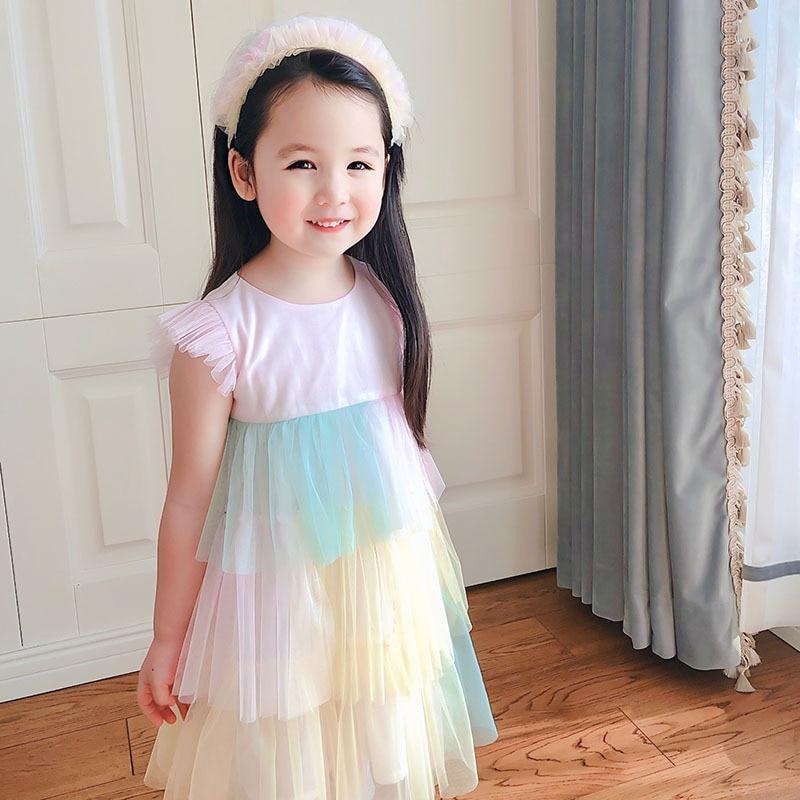 Girl's Sweet Dream Cake Dress Color Matching Net Yarn Princess Dress