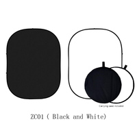 1.5x2M Black / White Backdrop Double Sided Twist Pop Out Muslin Background Panel with Carrying Case for Photography Background