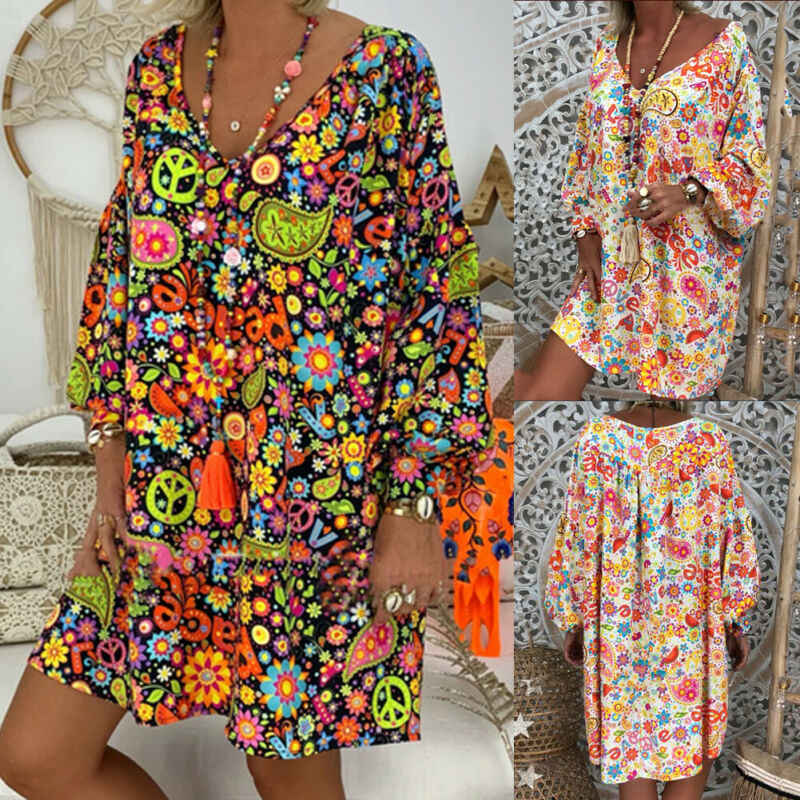 Women's Summer Dresses Vintage Floral Print Deep V Neck Dresses Women Boho Hippie Flowers Beach Kaftan Leisure Shirt