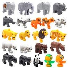 Grandes blocos de construção animais zoológico elefante tigre leão panda papagaio tamanho grande acessórios tijolos brinquedos educativos para crianças presentes