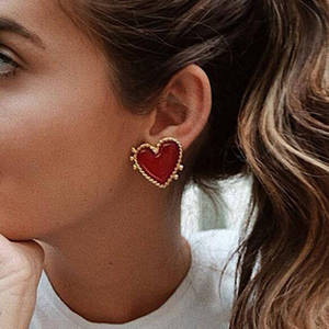 Exknl Heart-Earrings Party-Jewelry Heart-Statement Vintage Girl Bohemia Fashion Big Women