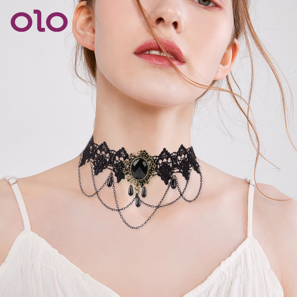 OLO Sexy Necklace Rhinestone Collar Bound Slave Restraints Fetsih Necklace Cosplay Sex Toys For Women Couple Adult Game