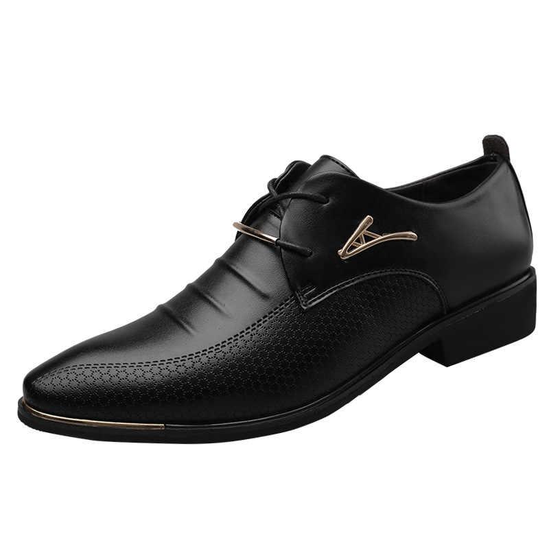 メンズレザーレースアップドレスシューズオックスフォードファッションレトロ靴エレガントな作業靴男性ドレスシューズ 669