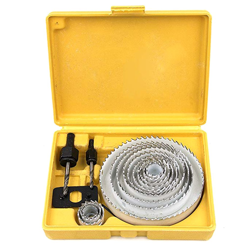 Hole Saw Cutter Kit Carbon Steel Downlights Drill Bit Tools For Wood Plasterboard Plastic And Non Ferrous Metals