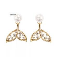DISINIYA  925 Silver Original Innovative Design Delicate Fishtail Zircon Earrings Female Fashion Pearl Micropaving Ball