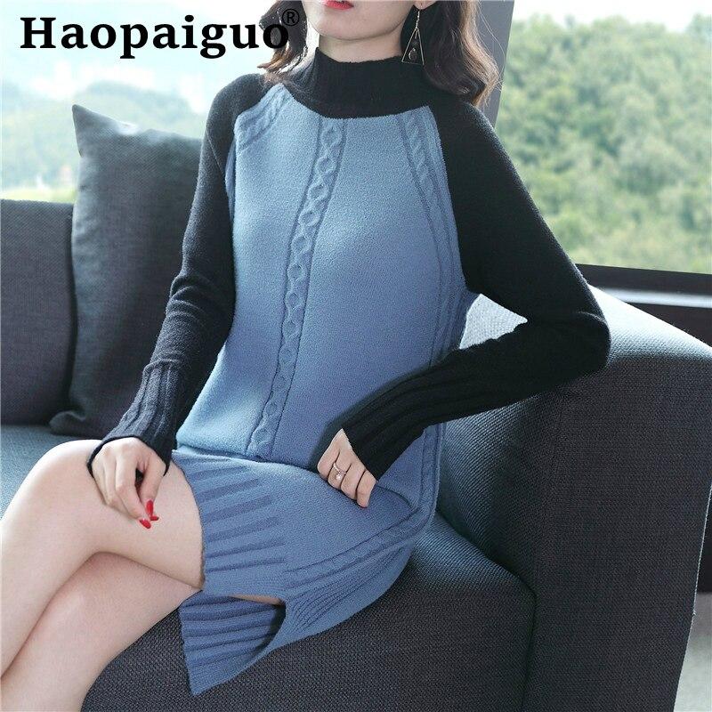 Robe ample à manches longues pour femmes contraste tricoté Mini robes rouges dames Modis Streetwear Harajuku pull automne robe femmes