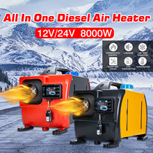12V 24V 8KW Ignition Copper Heater All In One Car Heater Air Diesel Parking Heater For RVs Motorhome Trucks LCD Remote Control