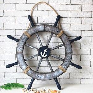 80 см Деревянный руль для украшения стен, аксессуары для винтажного декора комнаты, деревянная лодка, ремесло, якорь, антикварный декор для б...