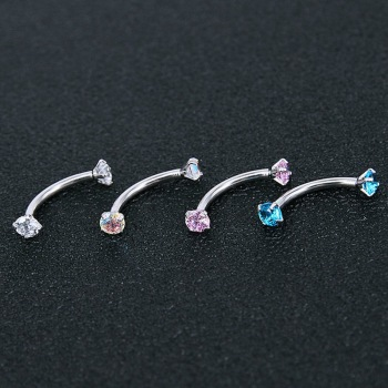 2 Piece Titanium Anodized Internally Threaded Prong Top Gem Eyebrow Ring piercing Zircon Eye Nail ring Tragus Earring