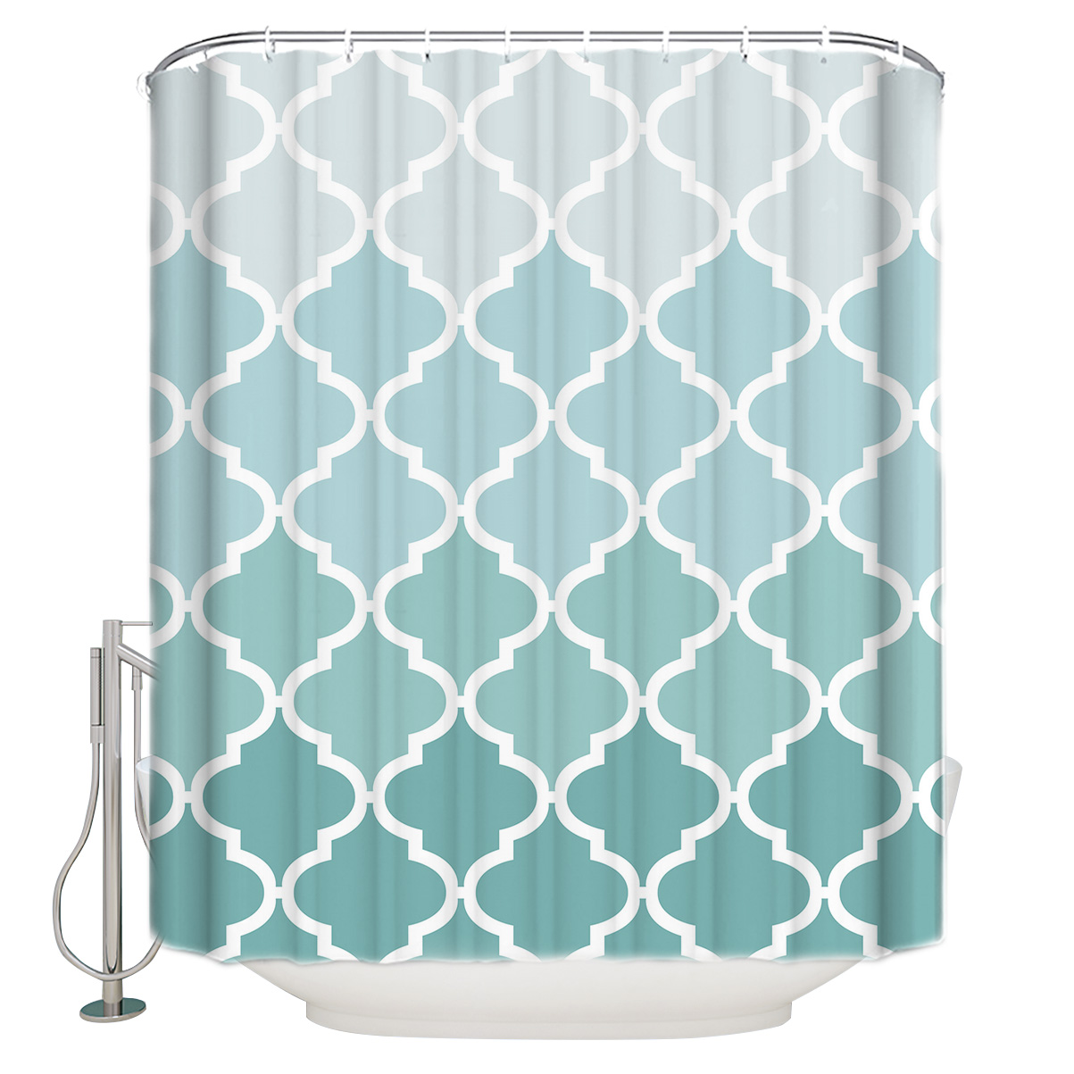 Geometric Blue Green Gradient Turquoise Shower Curtain Waterproof Polyester Fabric Shower Curtains For Bathroom Decor Shower Curtains Aliexpress