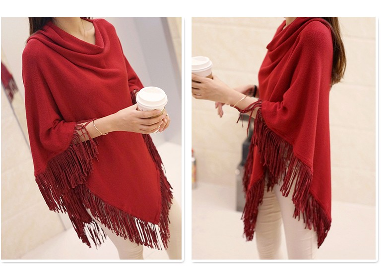 Women Spring Autumn Knitted Sweater Poncho Coat 18