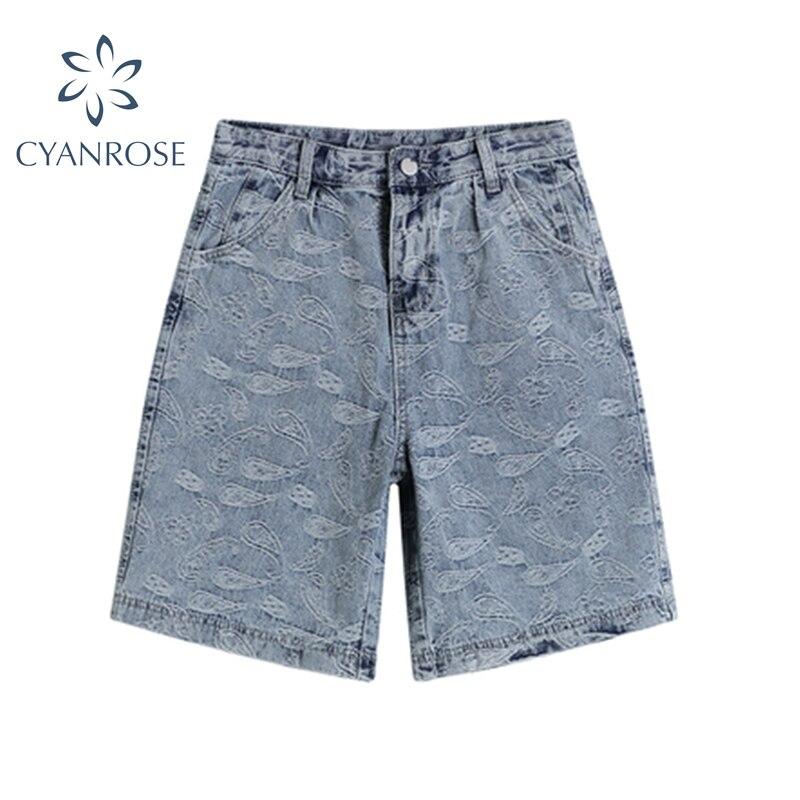 Летние свободные повседневные 5-точечный Джинсы женские 2021 японский Стиль свободные винтажные брюки-шорты из жаккарда женские прямые шорты...