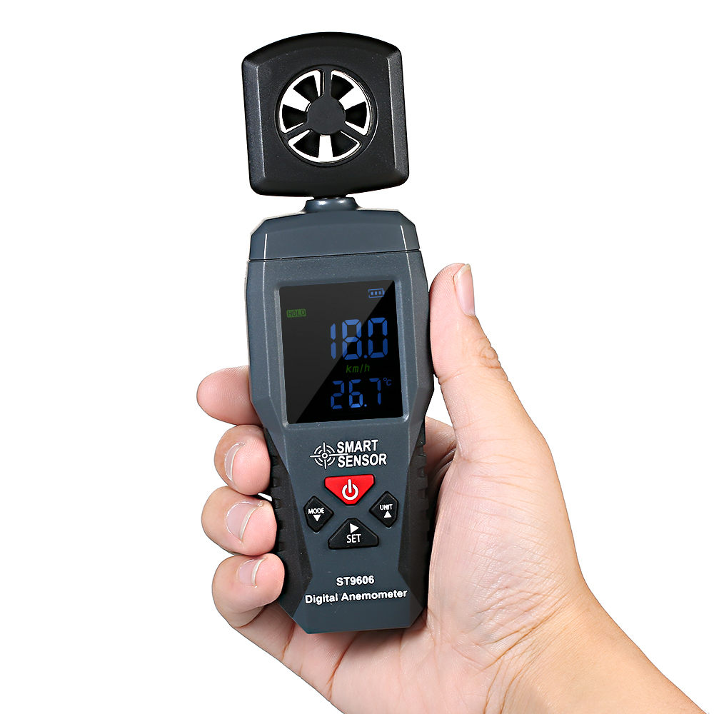 ST9606 Digital LCD Anemometer Thermometer Portable Wind Speed Measuring Meter Air Velocity Gauge with Backlight