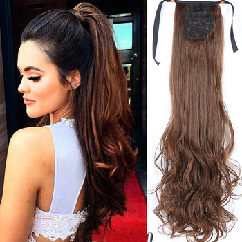 long wrap on hair Synthetic Clip in  Extensions Synthetic Hair Tail Long Wavy Heat Resistant Ponytail Hairpieces Fake Hairstyles charming long black shaggy wavy heat resistant synthetic ponytail for women