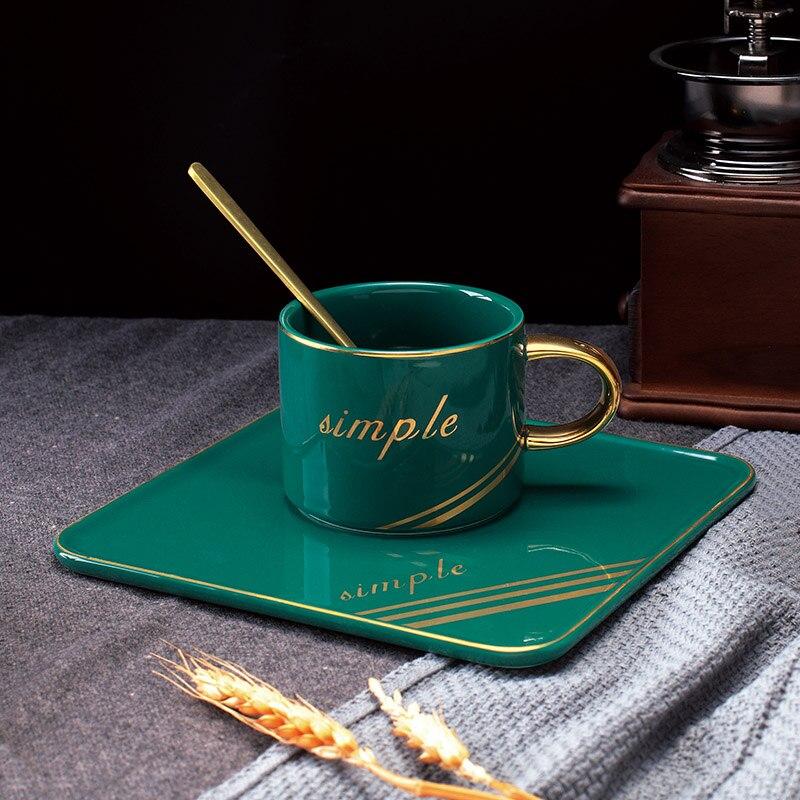 Europese luxe goud handvat Keramische Bone China Porselein Coffee Cup 240 ml, Set Mok Cappuccino Koffie Thee Cup Schotel-in Koffiewarensets van Huis & Tuin op  Groep 1