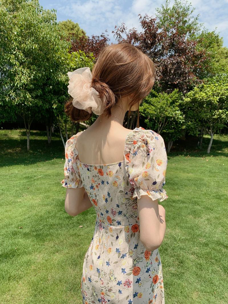 Vingate Sweet Dress Women Short Sleeve Floral Printed Dress Beach for Females Square Collar One Piece Dress Korean 2021 Summer