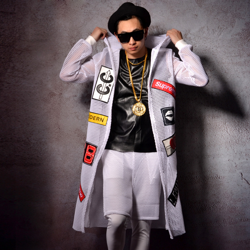 White Grid Hooded Long Cloak Nightclub Bar Male Singer DJDS Stage Costume Hip-Hop Jazz Dance Costumes Long Sleeve Mantle DWY3492