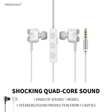 Roman E1 Double Unit Drive Earphone Sport Wired High Bass Dual Dynamic Headset With Mic Earbuds packing
