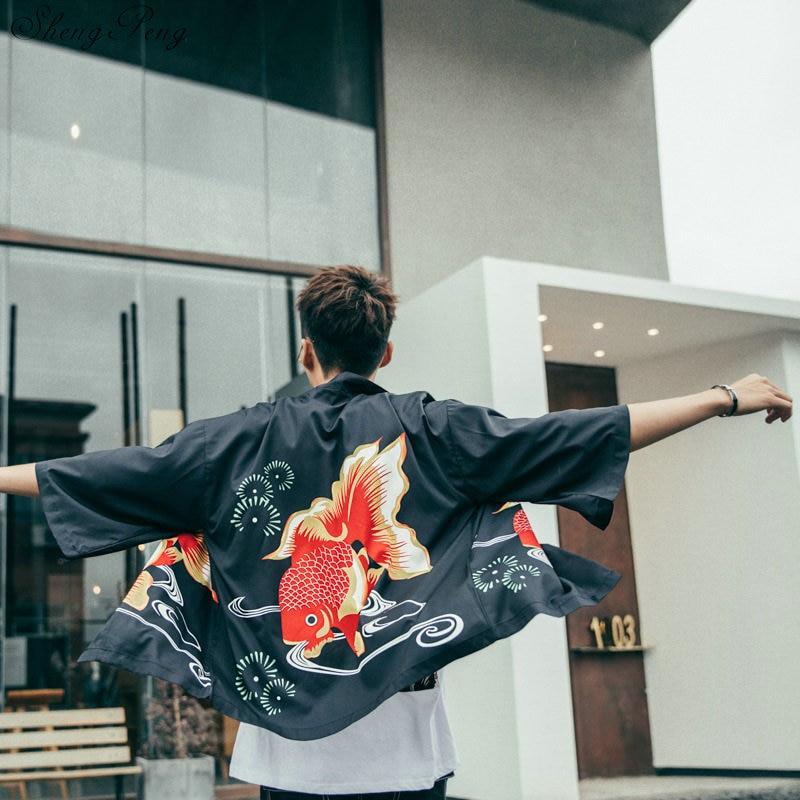 Japanese Kimono Yukata Kimono Cardigan Fashion Blouse Men 2019 Long Obi Cardigan Haori Traditional Kimonos Shirt V1647