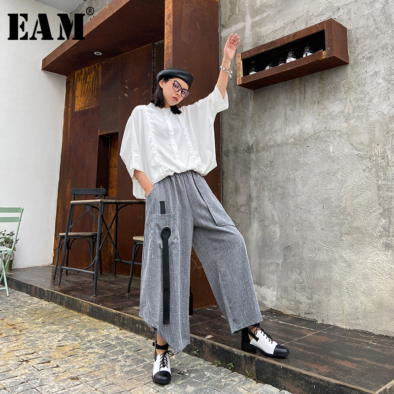 [EAM] High Elastic Waist Gray Ribbon Long Wide Leg Trousers New Loose Fit Pants Women Fashion Tide Spring Autumn 2020 1T771