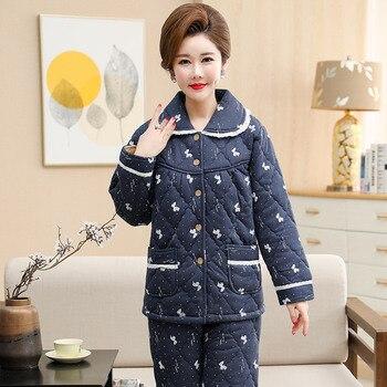Pijamas con estampado de mariposas mujer de tres capas engrosamiento cálido invierno chaqueta acolchada pijamas de algodón para mujer pijama para mujer de invierno de encaje