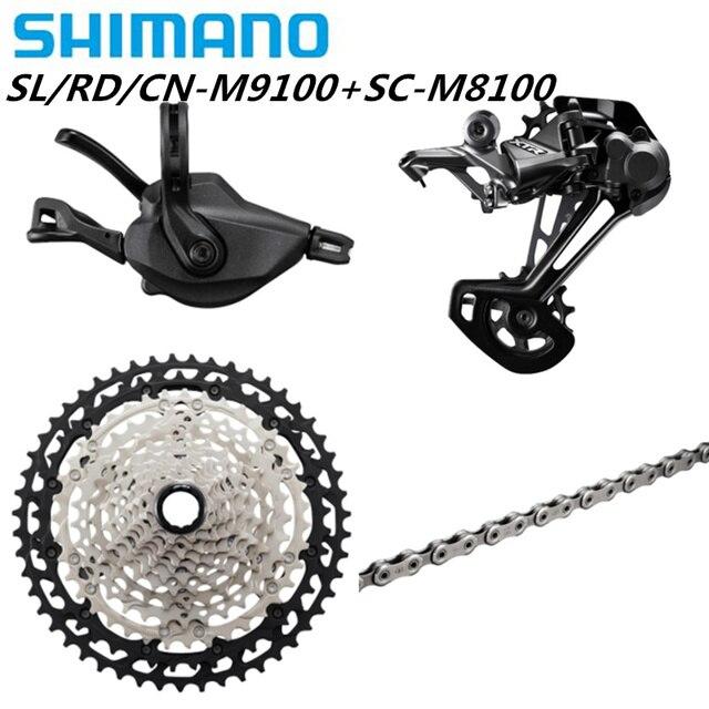 شيمانو ديوريه XT M8100 M7100 M6100 M9100 12s مجموعات الدراجة الجبلية MTB SL + RD + CS + HG M8100 شيفتر خلفي Derailleur سلسلة كاسيت