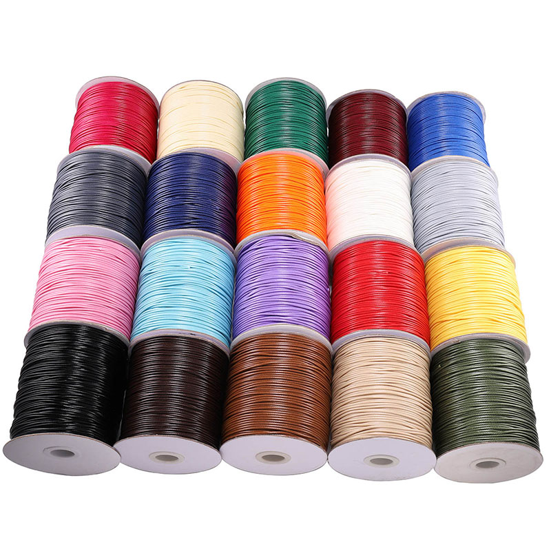 10M/lot 1.0 1.5mm Black White Waxed Cotton Cord Thread Cord String Fit Beading Craft DIY Necklace For Jewelry Making Supplies