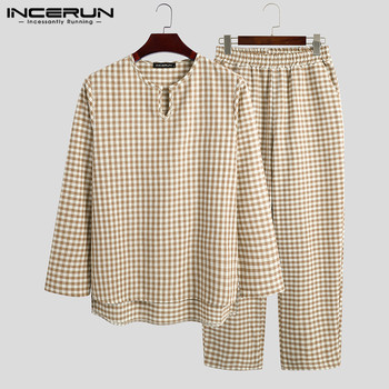 INCERUN Plaid Men Pajamas Sets Cotton Long Sleeve V Neck Nightwear Pants Breathable Loungewear Leisure Mens Sleepwear Suits - discount item  39% OFF Men's Sleep & Lounge