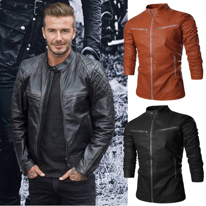 Menne   Men's Leather Jacket Xiaobei With The Same Locomotive Leather Men's Solid-color Zipper Casual Leather Coat