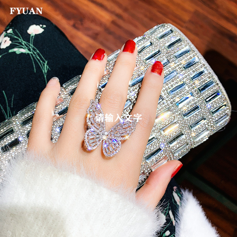 FYUAN Luxury Crystal Rings for Women 2019 Open Adjustable Shine Butterfly Rings Weddings Party Jewelry Gifts