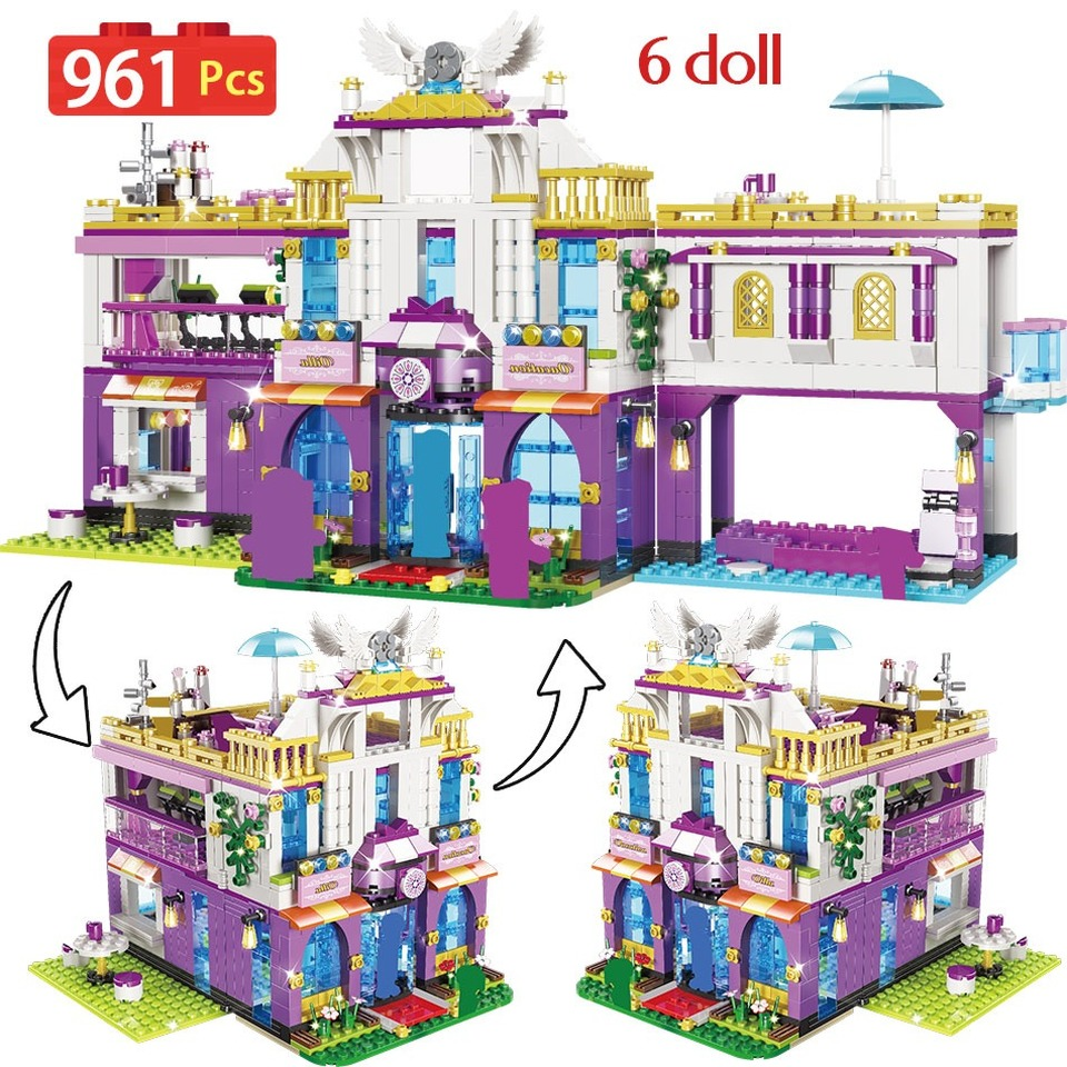 NEW 961PCS Private Luxury Villa Building Blocks Compatible Legoinglys Friends Castle Bricks Girls Princess House Toys For Girls