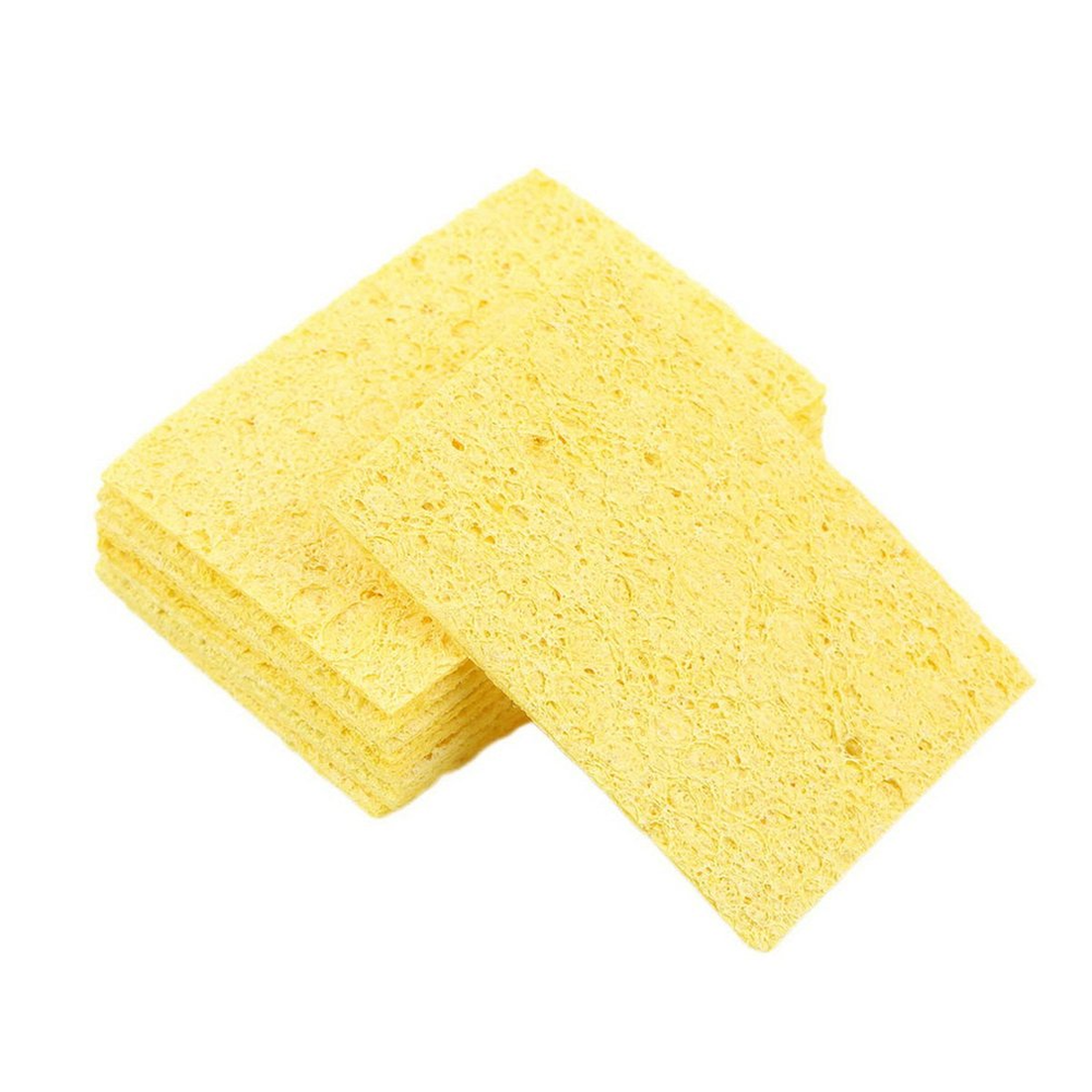 10pcs/Lot Tip Cleaning Sponge Soldering Iron Solder Tip Welding Cleaning Sponge Yellow Tool Cleaning Accessories