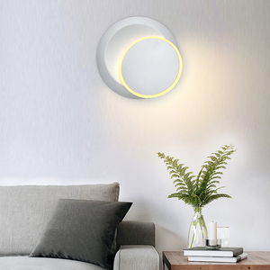 Image 2 - 크리 에이 티브 벽 조명 360 회전 5W 7W 현대 벽 램프 화이트 블랙 라운드 LED 벽 램프 장식 미술 조명