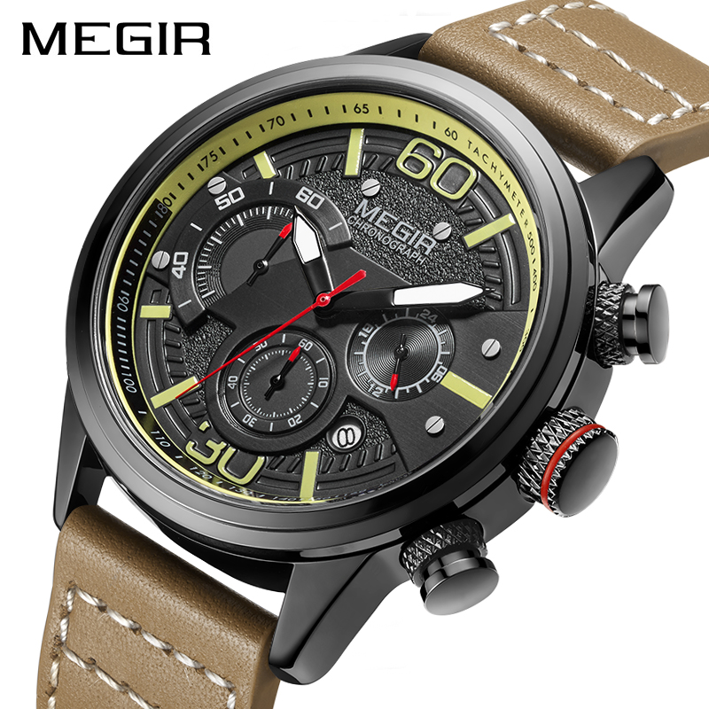 MEGIR 2019 New Fashion Mens Watches With Leather Strap Top Brand Luxury Sports Chronograph Quartz Watch Men Relogio Masculino