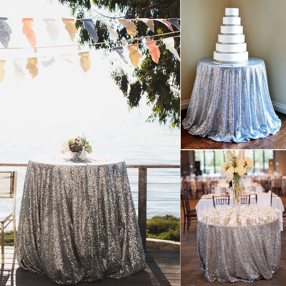 Rose Gold Sequin Tablecloth Glitter Round Rectangular Embroidered Table Cloth For Wedding Party Christmas Decoration