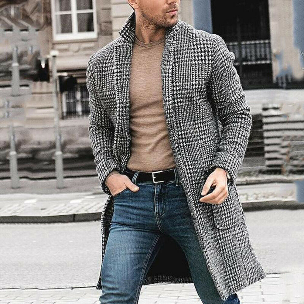 Autumn Winter Mens Fashion Coat Casual Thick Wool Trench Coat Business Coat Mens Plaid Classic Long Jackets Stockings