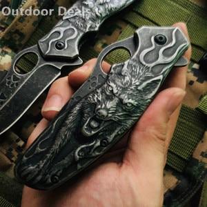 Image 5 - คอลเลกชัน 3D Wolf King Heavy Duty พับมีด Stonewash พ็อกเก็ตยุทธวิธี Survival เครื่องมือกลางแจ้งแคมป์ปิ้ง Hunting ประมงมีด