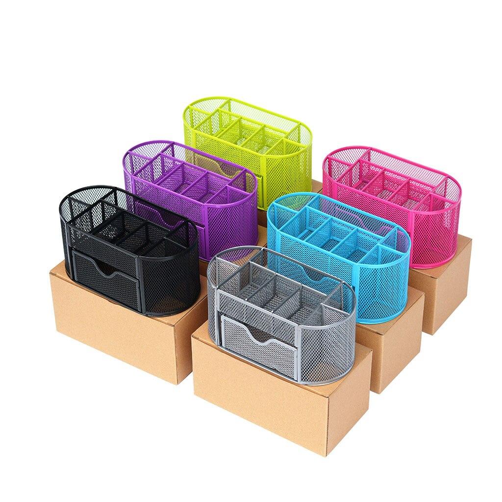 Kalem ve kalemlik ofis masası malzemeleri organizatör masaüstü Metal depolama kafes derslik sırası konteyner organizatör kalem kutusu title=