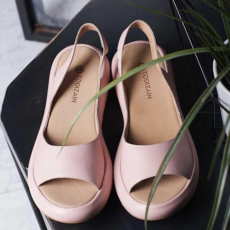 CYSINCOS נשים סנדלים שטוח מזדמן בוהן פתוח פלטפורמת הקיץ להחליק על סנדל אופנה נשים נעליים בתוספת גודל 35- 43