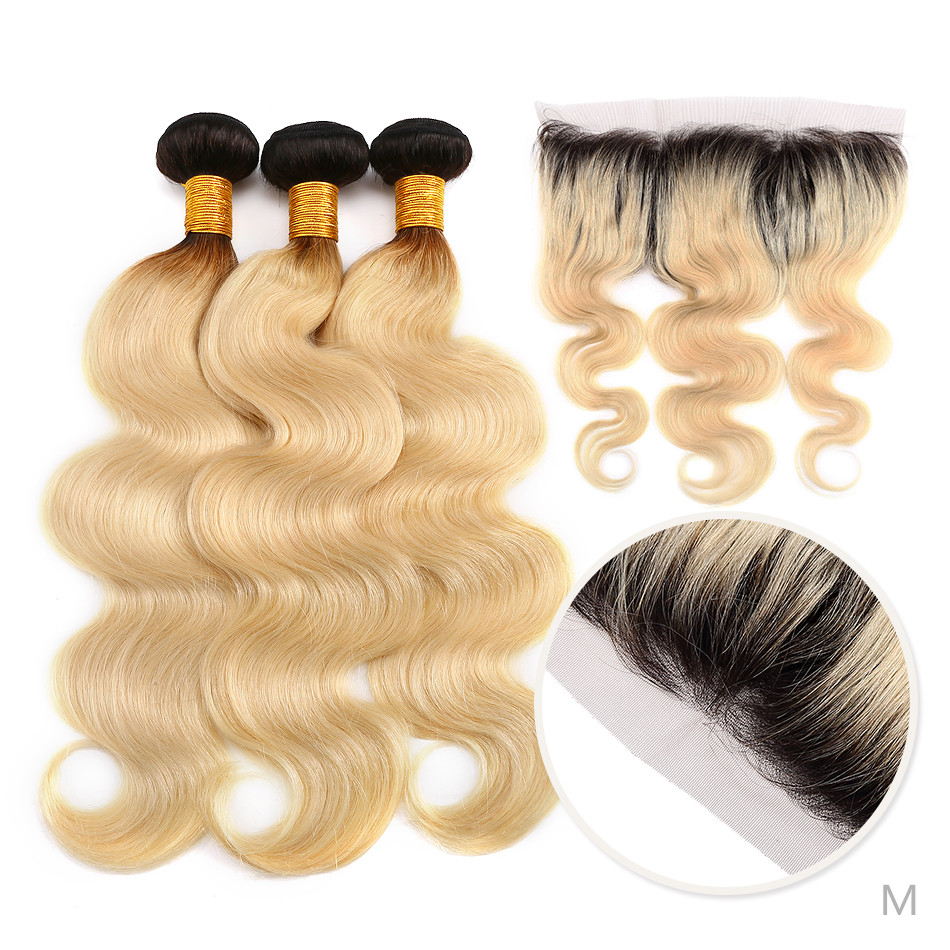 <font><b>Peruvian</b></font> <font><b>Ombre</b></font> Blonde <font><b>Bundles</b></font> <font><b>With</b></font> Frontal <font><b>Body</b></font> <font><b>Wave</b></font> <font><b>Bundles</b></font> <font><b>With</b></font> Lace Frontal <font><b>With</b></font> Baby Hair Remy Human Hair <font><b>Closure</b></font> image