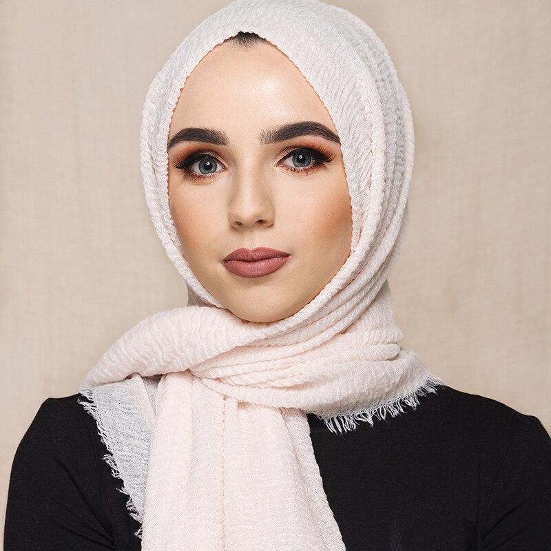 70*175cm Women Muslim Crinkle Hijab Scarf Femme Musulman Soft Cotton Headscarf Islamic Hijab Shawls And Wraps
