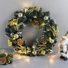 DIY Рождественский венок, светодиодный светильник на батарейках, гирлянда для передней двери, подвесные гирлянды, праздничные украшения для дома, украшения для рождественской елки